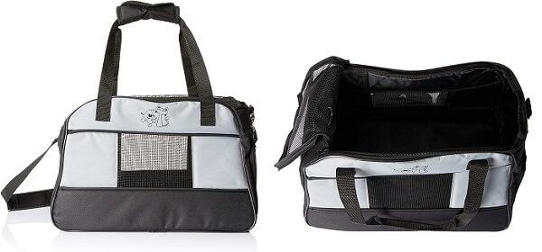 caixa de transporte para gatos no estilo bolsa com detalhes em tela e abertura superior com zíper