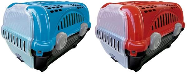 caixa de transporte para gatos furacão pet nas cores azul e vermelha