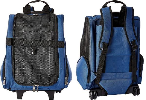 caixa de transporte para gatos modelo de mochila com rodinhas na cor azul