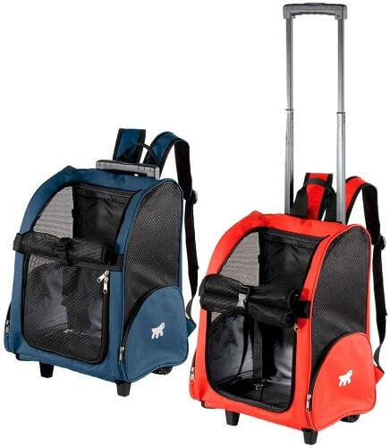 caixa de transporte para gatos mochila com rodinhas nas cores azul e vermelha