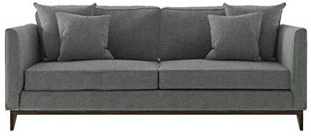 Sofá cinza com capacidade para até três pessoas.