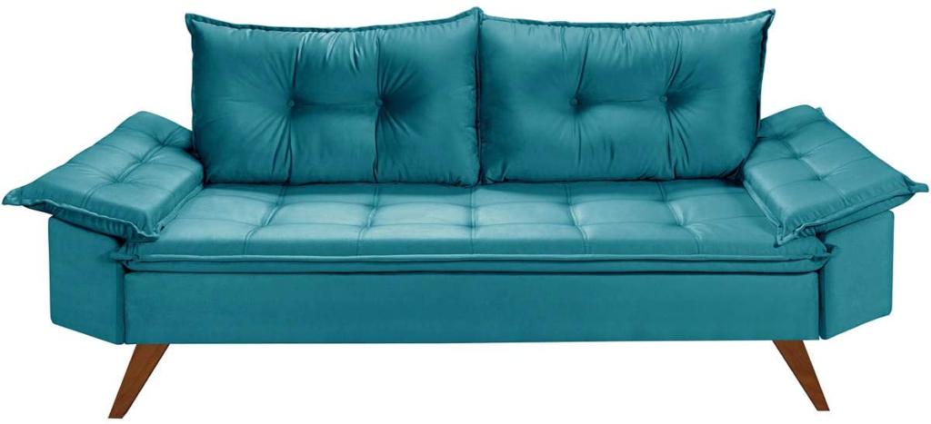 Sofá moderno e confortável, com capacidade para três pessoas, na cor azul.