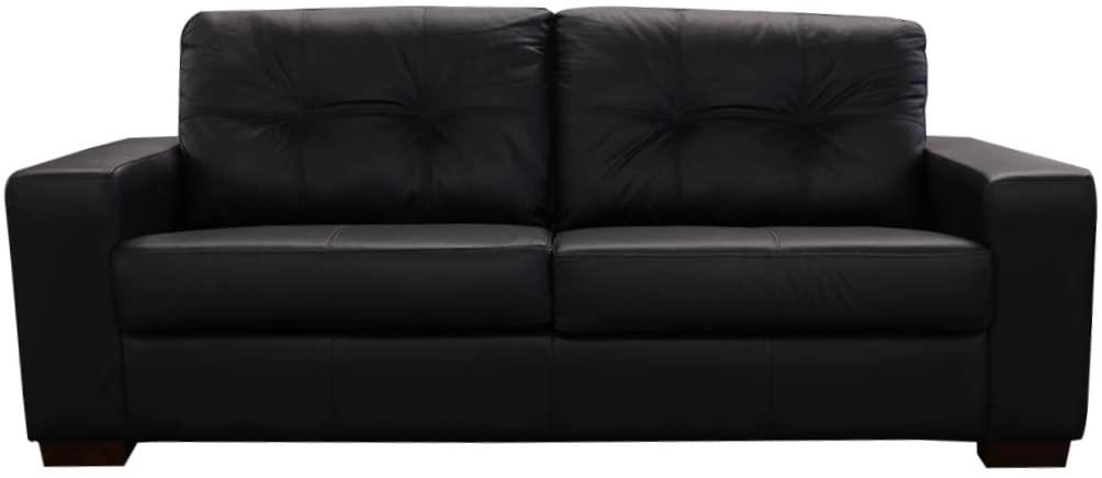 Sofá preto de couro com capacidade para até três pessoas.