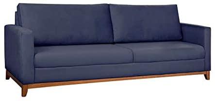 Sofá na cor azul com capacidade para três pessoas.