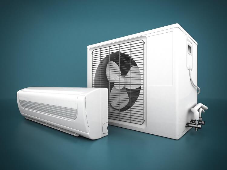 Ar condicionado slipt dividido em parte interna e externa.