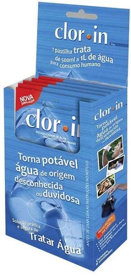 embalagem de clorin para tratamento de água, que é um dos itens do kit de cozinha para camping
