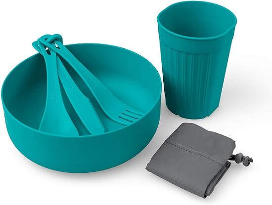 Kit refeição Sea to Summit com garfo, faca, colher, mosquetão, tigela e caneca, perfeito para o kit de cozinha para camping
