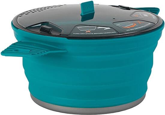 Panela dobrável de silicone Sea to Summit com 2,8 litros para kit de cozinha de camping