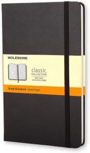 Caderno preto Moleskine.