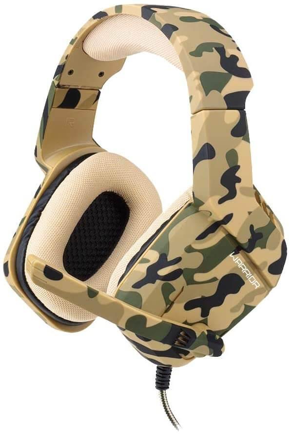 Fone para jogar com estampa militar e microfone.
