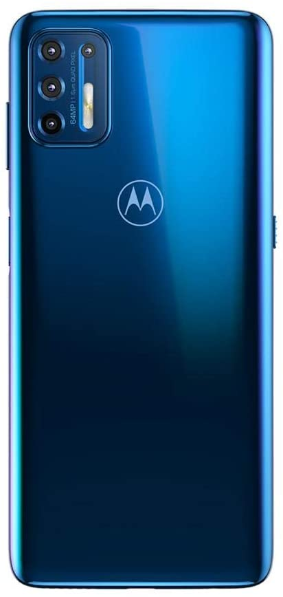 Foto traseira do aparelho de celular Moto G9 Plus da Motorola, na versão azul.