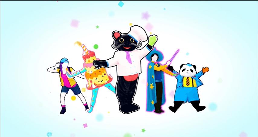 Imagem com as personagens do Modo Kids do Just Dance 2021 (adolescente, bolo, gato, bruxo e panda).