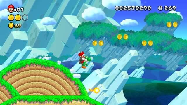 Print de uma das fases do Super Mario Bros U Deluxe.