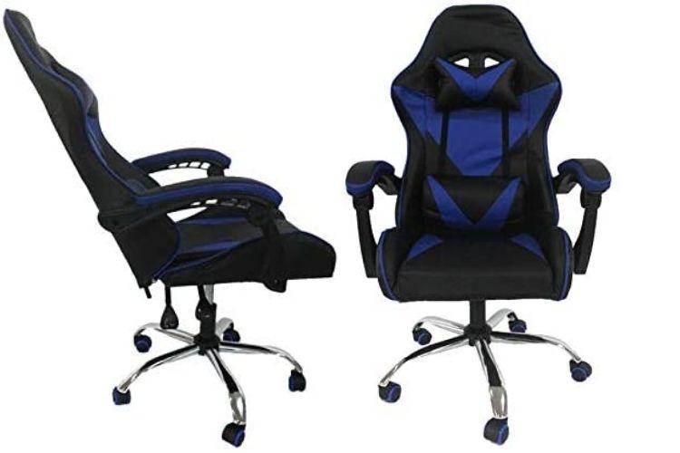 Cadeira gamer reclinável azul e preta.