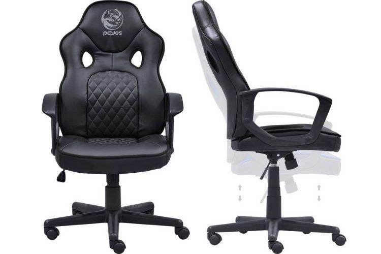 Cadeira gamer todo preta com símbolo da Pcyses no meio