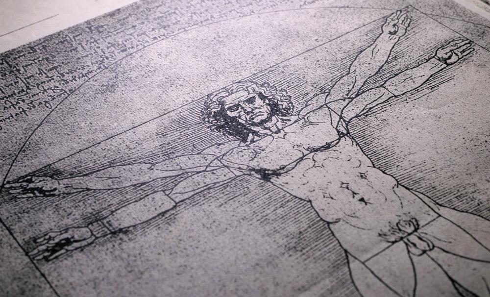 Gravura Do Homem Vitruviano, De Leonardo Da Vinci.